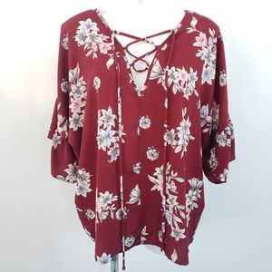 Peach Love California Lace Up Neck Line Floral Top